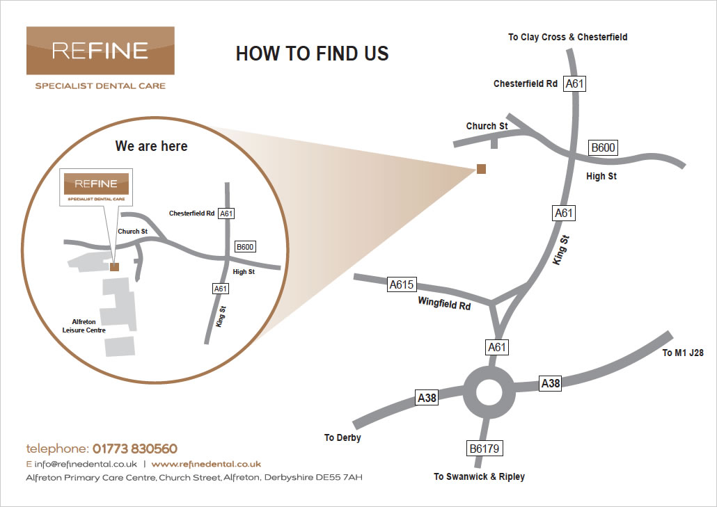 map to how to get to Refine dental